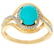 Oval Sleeping Beauty Turquoise & Diamond Ring 14K, 1/7 cttw - J329538