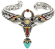 Barbara Bixby Sterling & 18K Multi-Gemstone Ram Cuff Bracelet - J331638