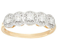 As Is Halo 5-Stone Diamond Band Ring, 14K Gold 1/2cttw, by Affinity - J331938