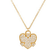 Judith Ripka 14K Gold Diamond Heart Necklace - J334138