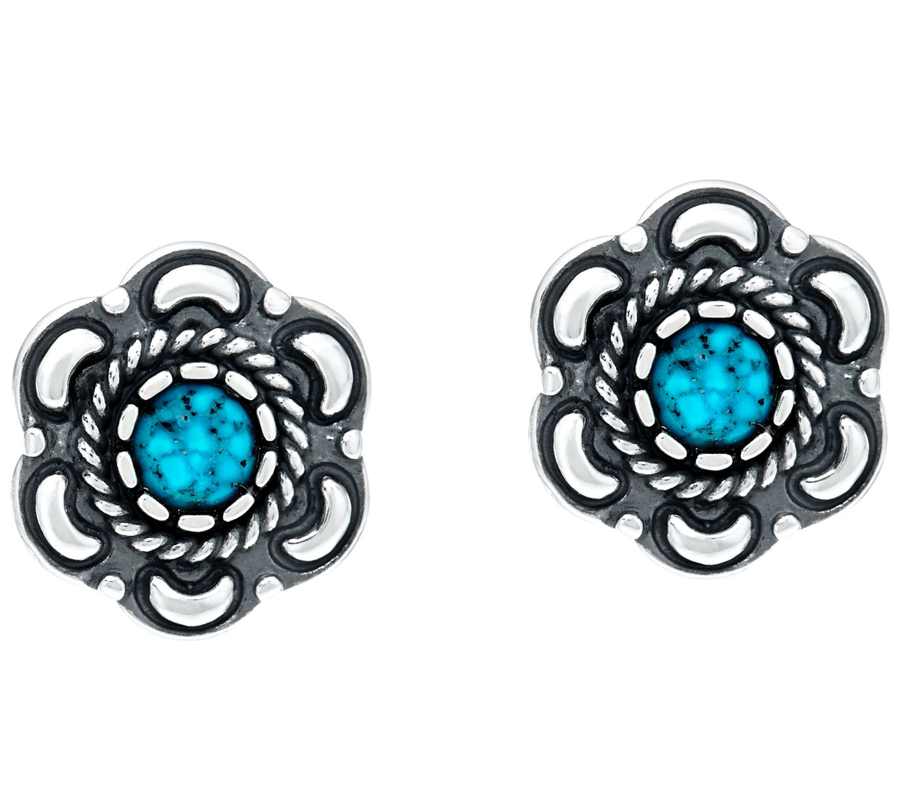 American West Sterling Silver Spiderweb Turquoise Earrings Page 1