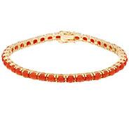 Red Coral 7-1/4 Tennis Bracelet 14K Gold - J334838