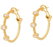 Judith  Ripka Sterling & 14K Clad Diamonique Station 1 Hoop Earrings - J335338