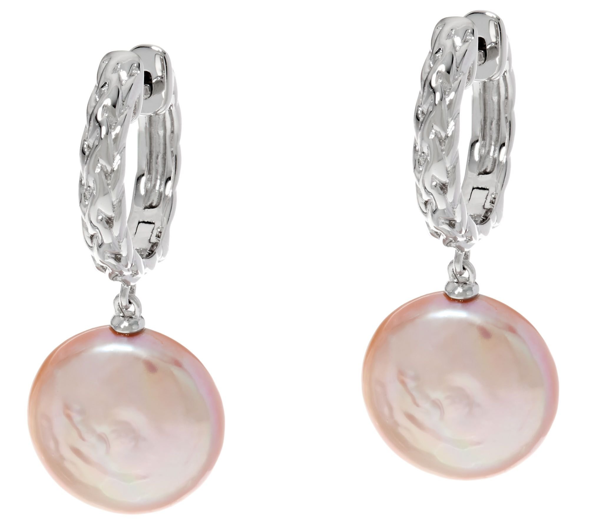 Honora Cultured Pearl Baroque Coin Sterling Drop Earrings  Page 1 — Qvc