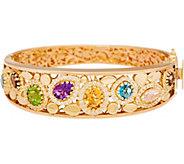Arte d Oro Large Multi-gemstone Oval Bangle 18K Gold, 28.5g - J350638