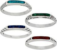 American West Gemstone Inlay Sterling Silver Set of 4 Stack Rings - J351738