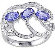 1.20 cttw Tanzanite & 1/3 cttw Diamond 3-StoneRing, 14K - J377738
