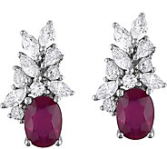 14K 2.00 cttw Ruby & 1.00 cttw Diamond ClusterEarrings - J377838
