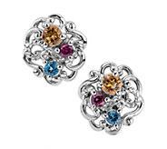 Carolyn Pollack Sterling Multi-Gemstone ButtonEarrings - J378338