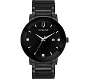 Bulova Mens Black Stainless Bracelet Diamond Accent Watch - J378538