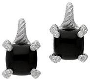 Judith Ripka Sterling Diamonique & Onyx Lever Back Earrings - J381238