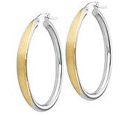 Italian Gold 1-1/2 Two-Tone Satin Hoop Earrings 14K, 2.8g - J382138