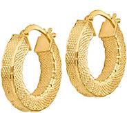 Italian Gold Round Lattice Hoop Earrings 14K, 2.5g - J382238