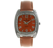 Peugeot Ladies Crystal Bezel Orange StrapWatch - J105139
