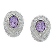 Judith Ripka Sterling Monaco Bezel Set Gemstone Earrings - J273739