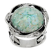 Sterling Silver Roman Glass Textured Round Ring by Or Paz - J281339