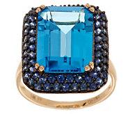 Premier 7.00 ct Blue Topaz & 0.90 cttw Blue Sapphire Ring, 14K - J282239