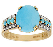 Sleeping Beauty Turquoise & Diamond Ring 14K Gold - J286339