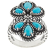 Sleeping Beauty Turquoise Sterling Silver Cluster Ring by American West - J287239