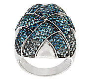 4.00 ct tw Blue Topaz Pave Woven Sterling Ring - J289439