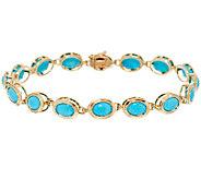 Sleeping Beauty Turquoise 7-1/4 Tennis Bracelet 14K Gold - J292039