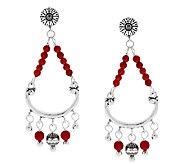 American West Red Coral Sterling Dangle Earrings - J293439