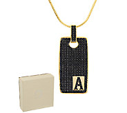 Bronzo Italia 3.50 cttw Black Spinel Yellow Initial Tag Necklace - J293639