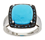 Sleeping Beauty Turquoise & Blue Diamond Accent Sterling Ring - J294539