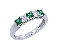 Diamonique & Simulated Emerald Band Ring, Platinum Clad - J302439