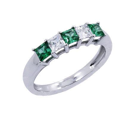 epiphany diamonique simulated emerald 5 band ring