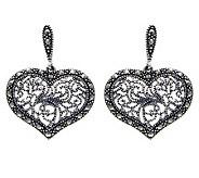 Suspicion Sterling Marcasite Heart Dangle Earrings - J304339