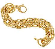 Bronze Bold Textured Triple Rolo Link Bracelet by Bronzo Italia - J318539