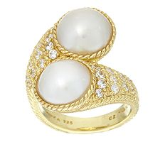 Judith Ripka Sterling & 14K Clad Mabe Pearl & Diamonique Bypass Ring