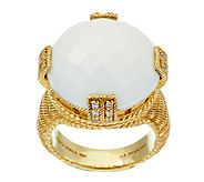 Judith Ripka Sterling & 14K Clad Faceted Gemstone Ring - J321139