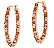 Bronzo Italia Shades of Crystal Oval Hoop Earrings - J322039