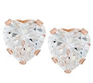 Diamonique 2.00 cttw Heart Stud Earrings, 14K - J323239