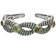 Judith Ripka Sterling Green Mint Quartz & Pave Cuff Bracelet - J324039