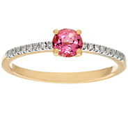 Pink Tourmaline & Diamond Solitaire Ring 14K Gold 0.30 ct - J326339