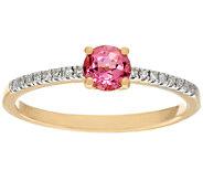 Pink Tourmaline & Diamond Solitaire Ring 14K Gold 0.30 ct - J326339