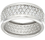 Diamonique Pave Band Ring Sterling or 14K Clad - J326639