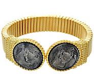 Judith Ripka 14K Clad Verona Coin Tubogas Cuff Bracelet - J326939