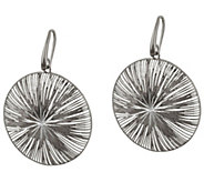 As Is Vicenza Silver Sterling Textured and Diamond Cut Dangle Earrings - J327339