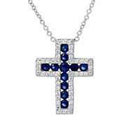Diamonique Simulated Gemstone Cross Pendant w/ Chain, Sterling - J329339