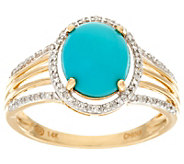Oval Sleeping Beauty Turquoise & Diamond Ring 14K, 1/10 cttw - J329539