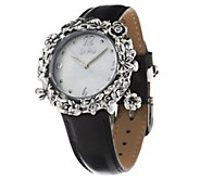 As Is Stainless Steel Garden Gemstone Leather Strap Watch by Or Paz - J330039