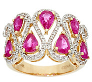 Pear Cut Mozambique Ruby &  Diamond Wide Ring, 14K 2.00 cttw - J330539