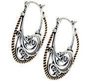 As Is Carolyn Pollack Elegant Affair Sterling Brass Earrings - J330639