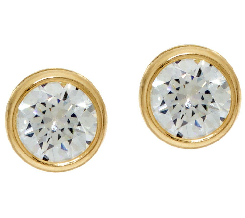 Quot As Is Quot Diamonique 2 00 Cttw Bezel Set Stud Earrings 14k