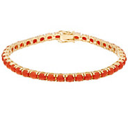 Red Coral 8 Tennis Bracelet 14K Gold - J334839