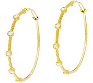 Judith Ripka Sterling & 14K Clad Diamonique Station 2 Hoop Earrings - J335339